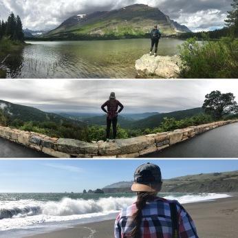 Swiftcurrent Lake, East Glacier National Park, Montana; Skyline Drive, Shenandoah National Park, Virginia; Goat Rock Beach, Jenner, California