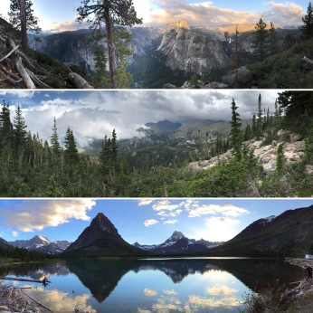 Glacier Point, Yosemite National Park, California; Flat Top Mountain Trail, Rocky Mountain National Park; Swiftcurrent Lake, East Glacier National Park, Montana