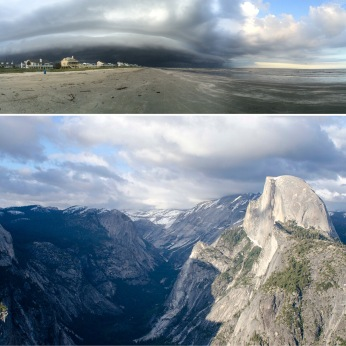 Jamaica Beach, Galveston, Texas; Half Dome from Glacier Point, Yosemite National Park, California
