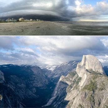 Jamaica Beach, Galveston, Texas; Half Dome from Glacier Point, Yosemite National Park, California