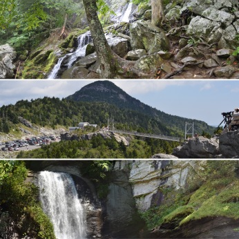 Dark Hollow Falls, Shenandoah National Park, Virginia; Grandfather Mountain Mile High Swinging Bridge, Linville, North Carolina; Looking Glass Falls, Brevard, North Carolina