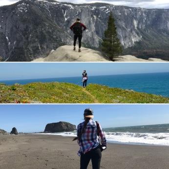 Yosemite Fall Trail, Yosemite National Park, California; Highway 1 Coastal Access Point, California; Goat Rock Beach, Jenner, California