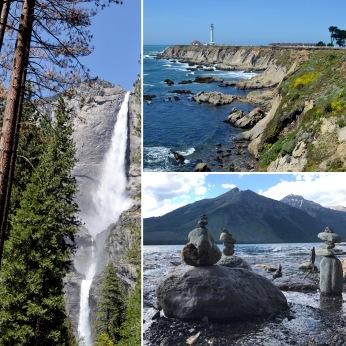 Yosemite Fall, Yosemite National Park, California; Port Arena Light, Port Arena, California; Lake McDonald, Glacier National Park, Montana